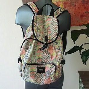 VICTORIA SECRET PINK colorful backpack book bag